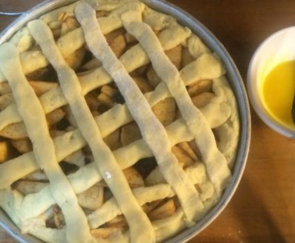 El enrejado para la tarta de manzanas de holanda