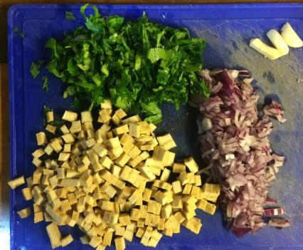Ingredientes discos de bami con tofu