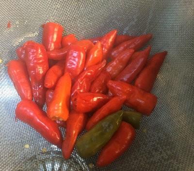 Chiles rojos y verdes en un colador