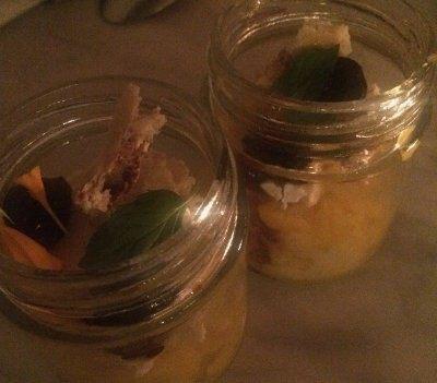 Sorbet de mango en pote de vidrio