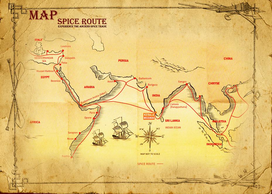 Mapa de rutas de especias desde la India
