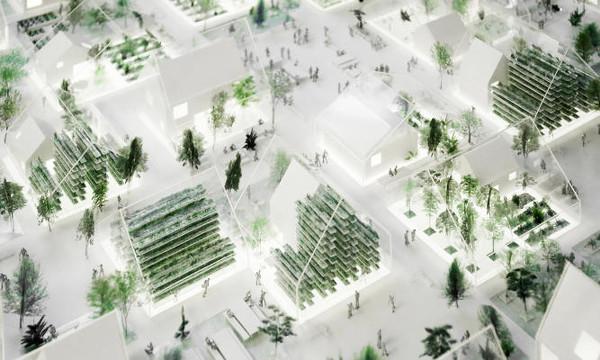 Plano del pueblo autosustentable ReGen con planta biogas