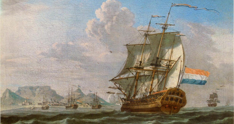 Barcos holandeses en el Cabo de Buena Esperanza, 1762.