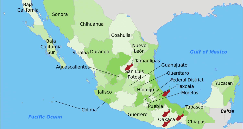 Mapa de México con Chiles Poco Comunes